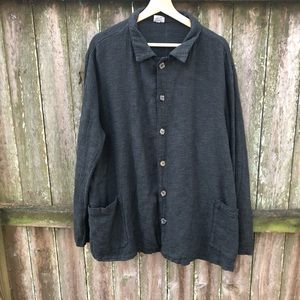 CP SHADES Black Grey Button Down Top Jacket Size L